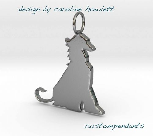Afghan Hound sitting  dog pendant sterling silver handmade by saw piercing Caroline Howlett Design